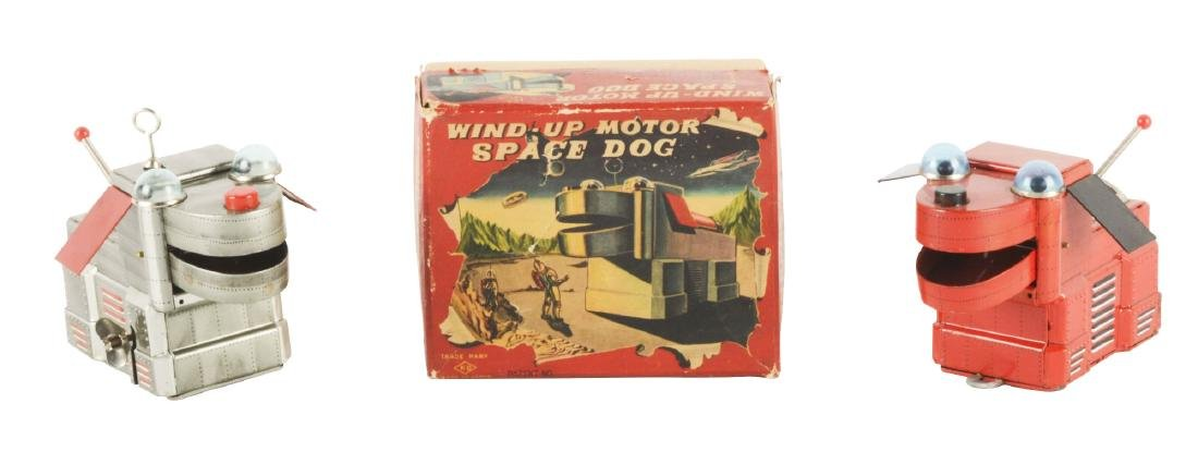 Lot of 2: Japanese Tin Litho Space Dog Toys.