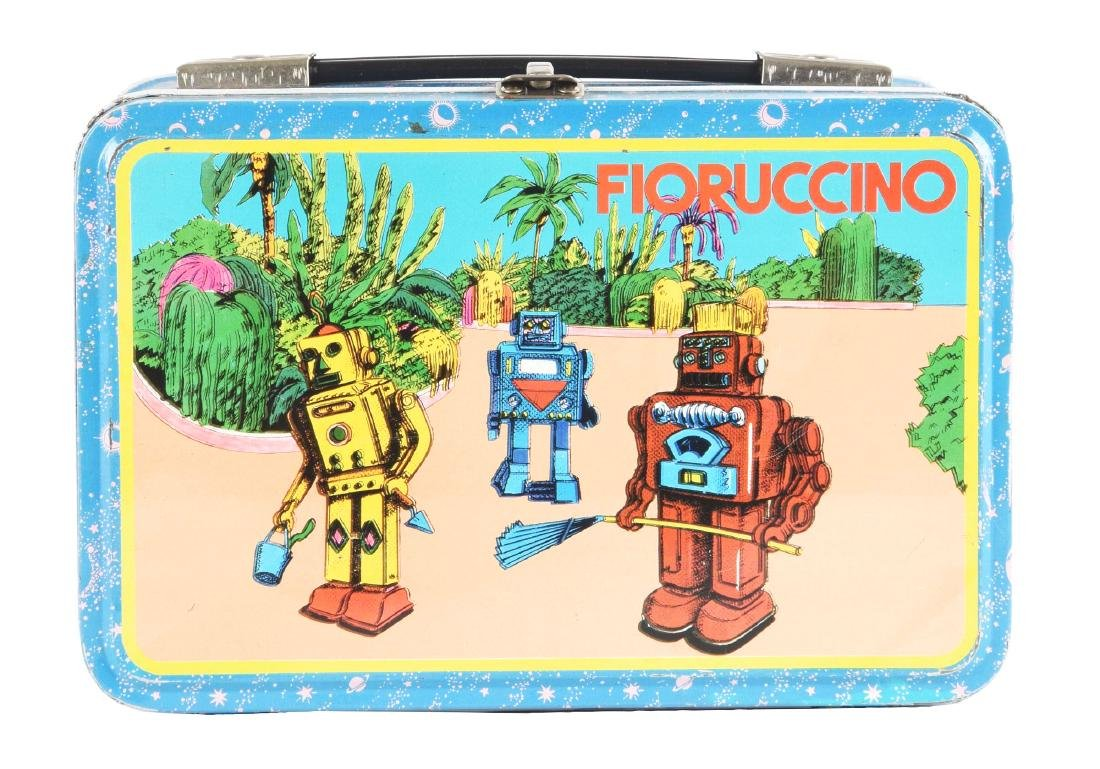 Scarce & Unusual Tin Litho Robot Themed Lunch Box