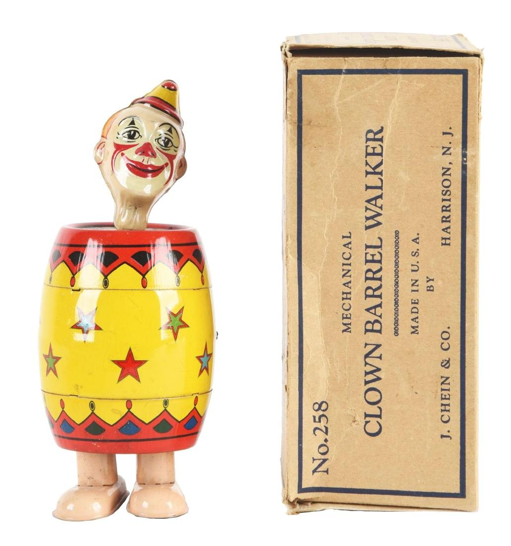 Chein Tin Litho Wind-Up Clown Barrel Walker Toy with