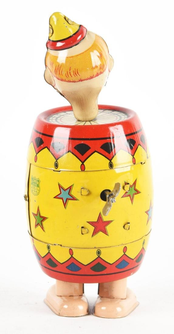 Chein Tin Litho Wind-Up Clown Barrel Walker Toy with - 2