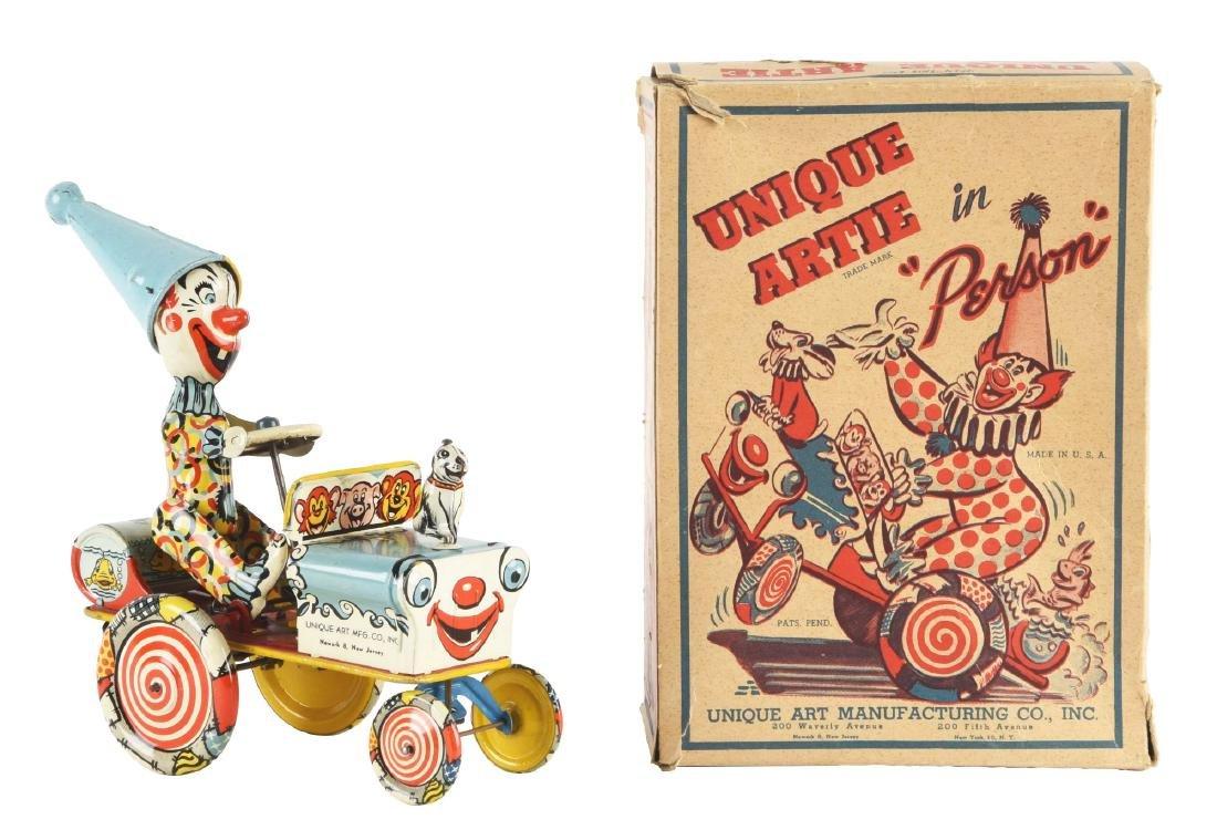Unique Art Tin Litho Wind-Up Artie Clown Whoopie Car