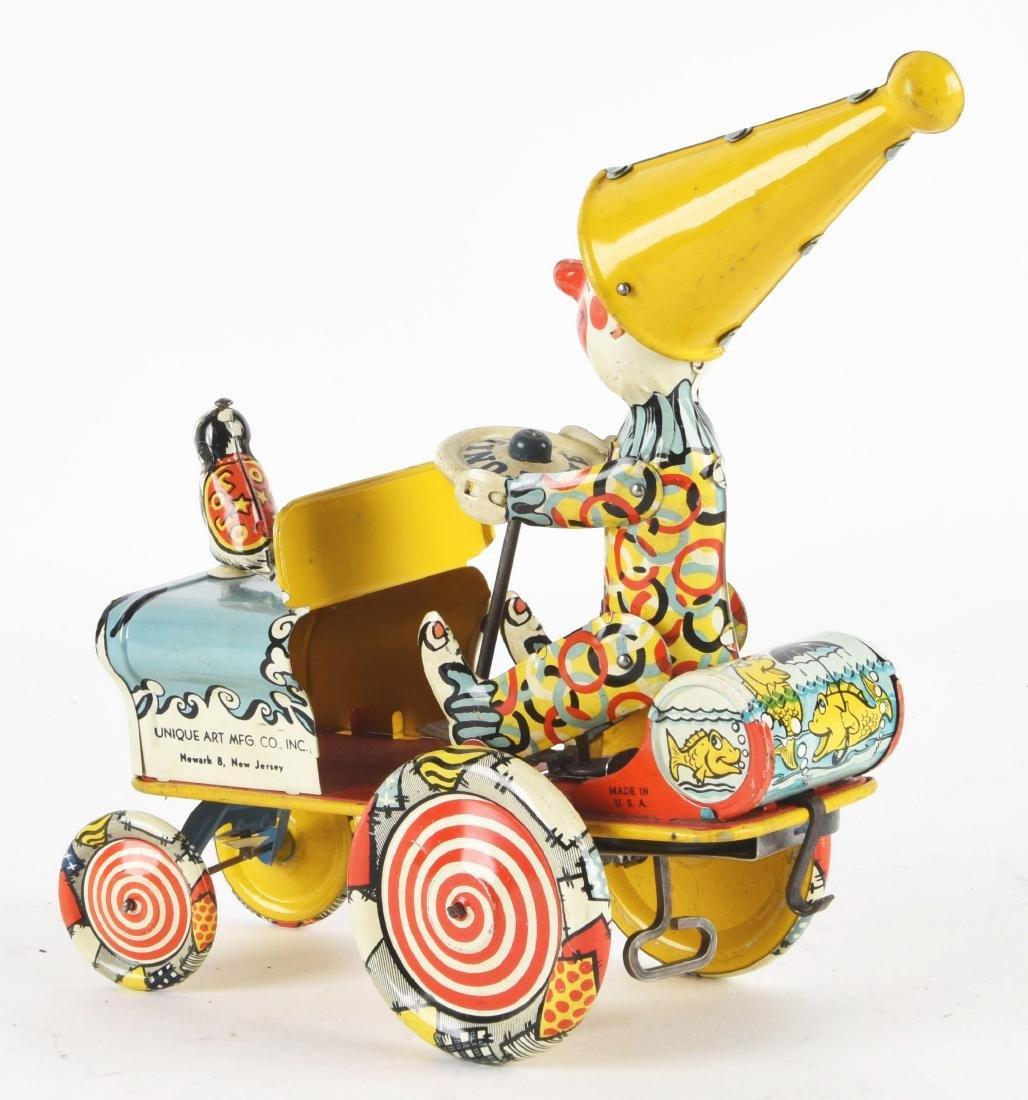 Unique Art Tin Litho Wind-Up Artie Clown Whoopie Car - 2