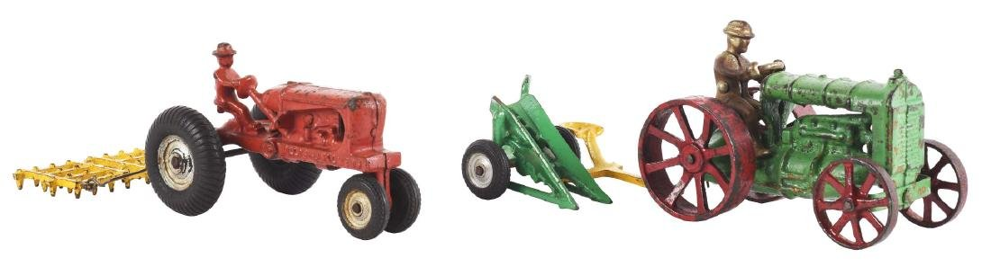 Lot Of 2: Cast Iron Arcade Toy Tractors Pulling