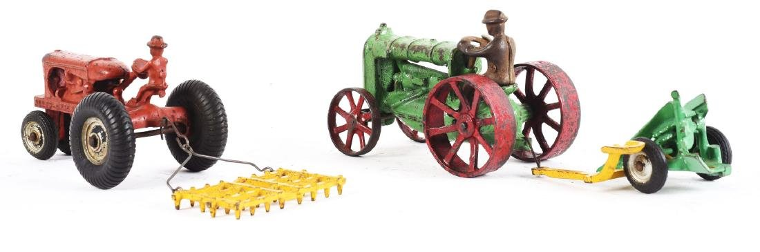 Lot Of 2: Cast Iron Arcade Toy Tractors Pulling - 2