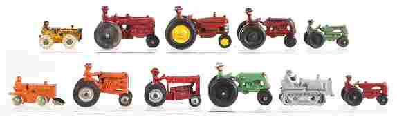 Lot Of 11: Various Cast Iron Toy Tractors &