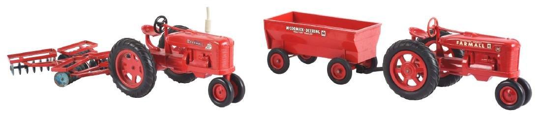 Lot Of 2: Plastic Farmall Toy Tractors Pulling