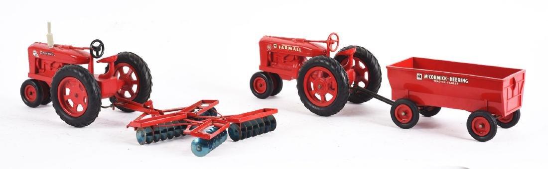 Lot Of 2: Plastic Farmall Toy Tractors Pulling - 2