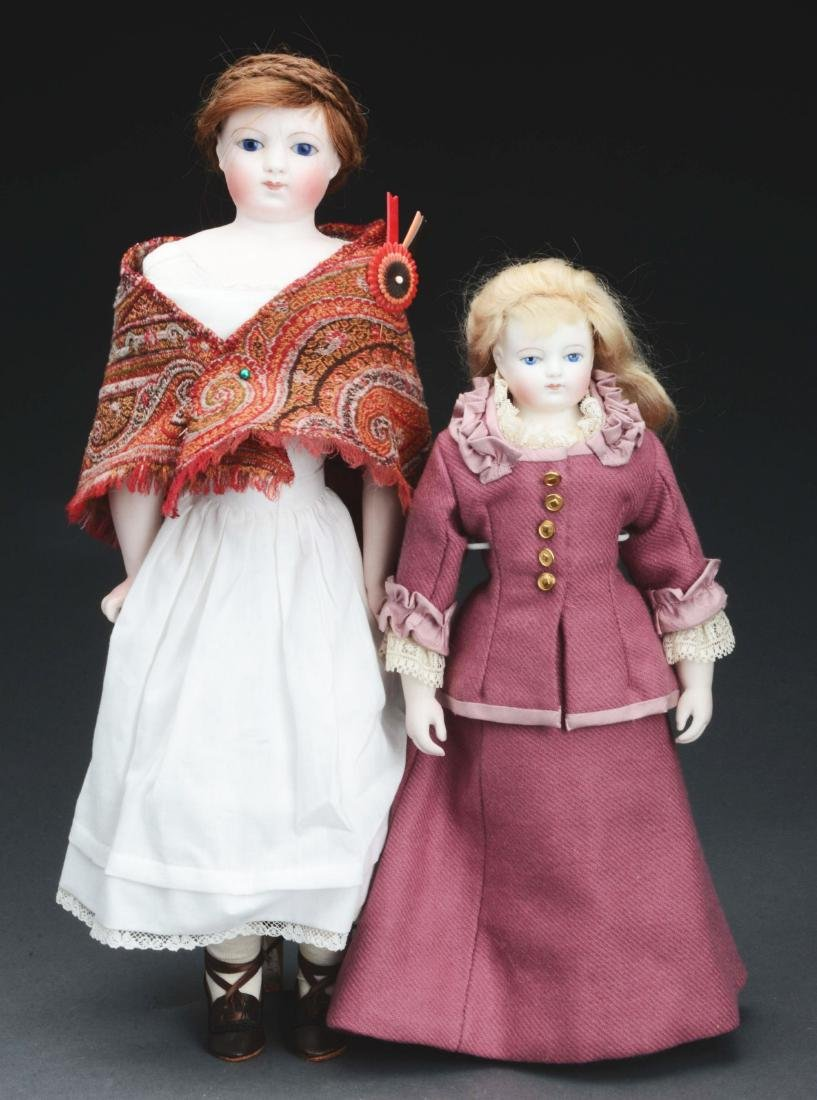 Lot Of 2: Bisque Shoulder Head French Fashion Dolls.