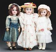 Lot Of 3: Quality German Bisque Head Dolls.
