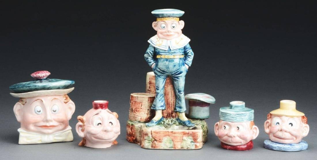 Lot Of 5: Staffordshire Brownie Figures.