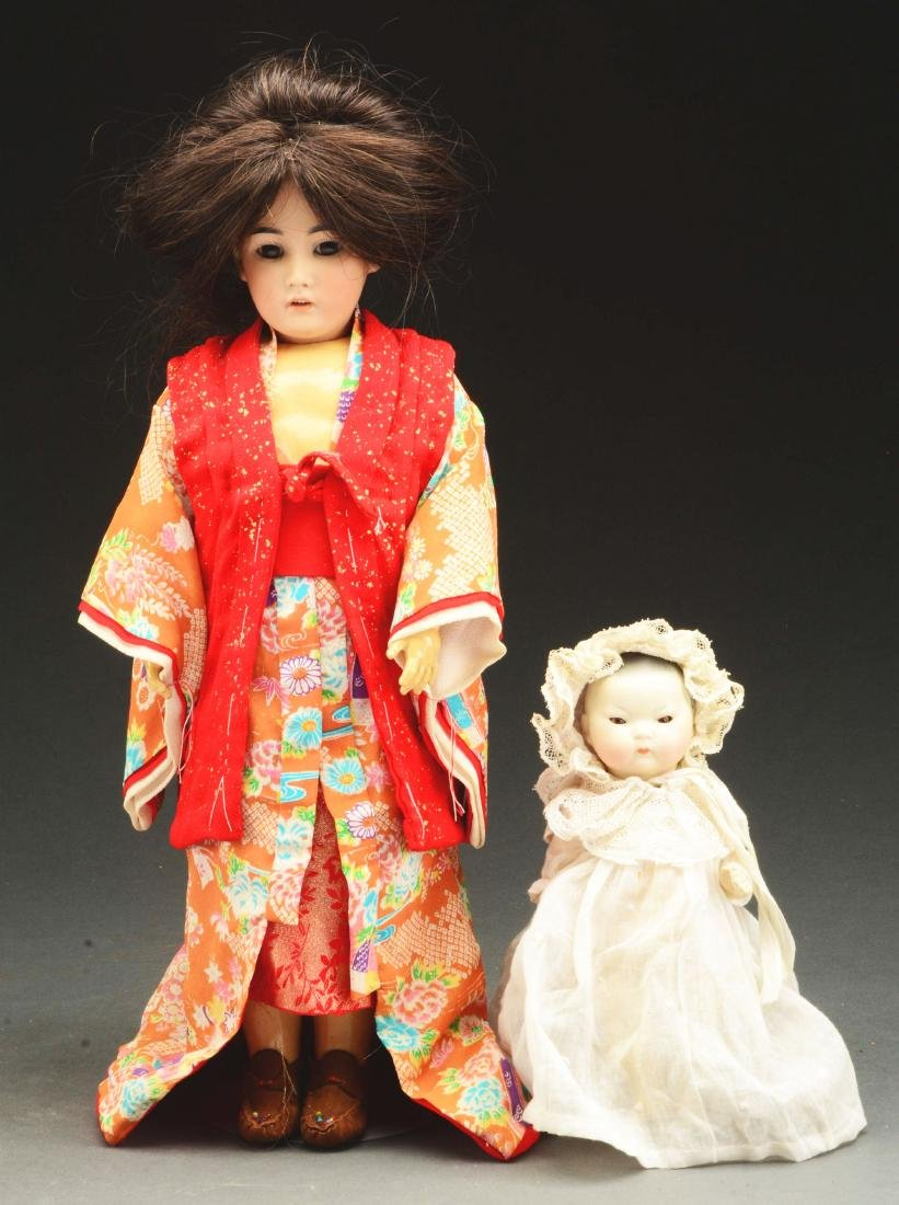 Lot of 2: Bisque Head Dolls Representing Asian