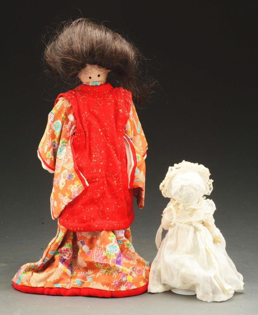 Lot of 2: Bisque Head Dolls Representing Asian - 2