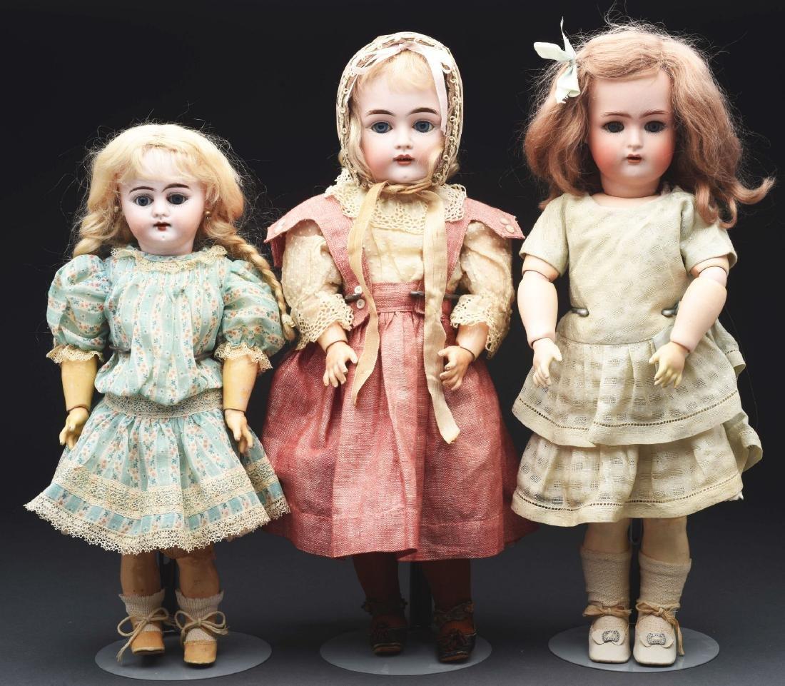 Lot of 3: German Bisque Head Dolls.