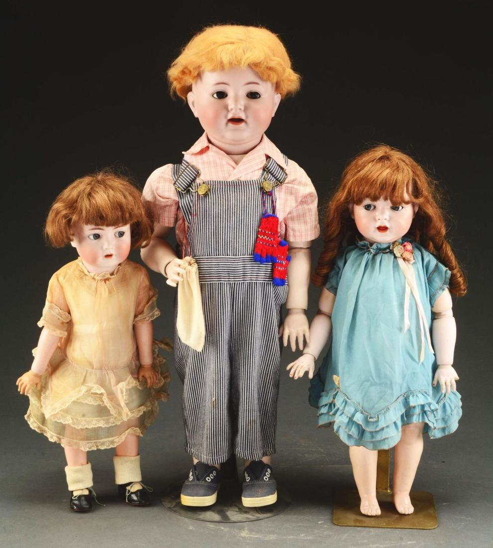 Lot Of 3: Early 20th Century Bisque Head Dolls With