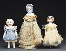 Lot of 3: Small Unusual Parian Dolls.