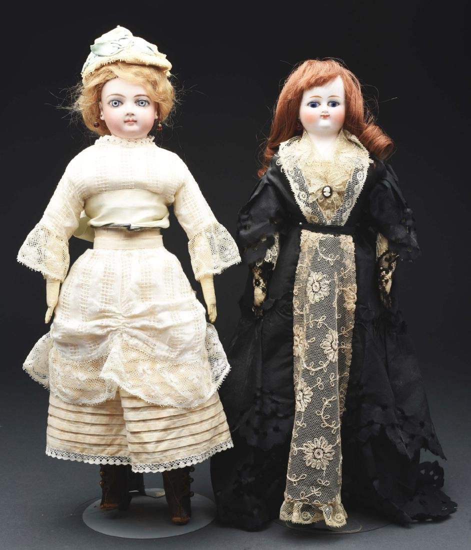 Lot of 2: Bisque Head Fashion Dolls.