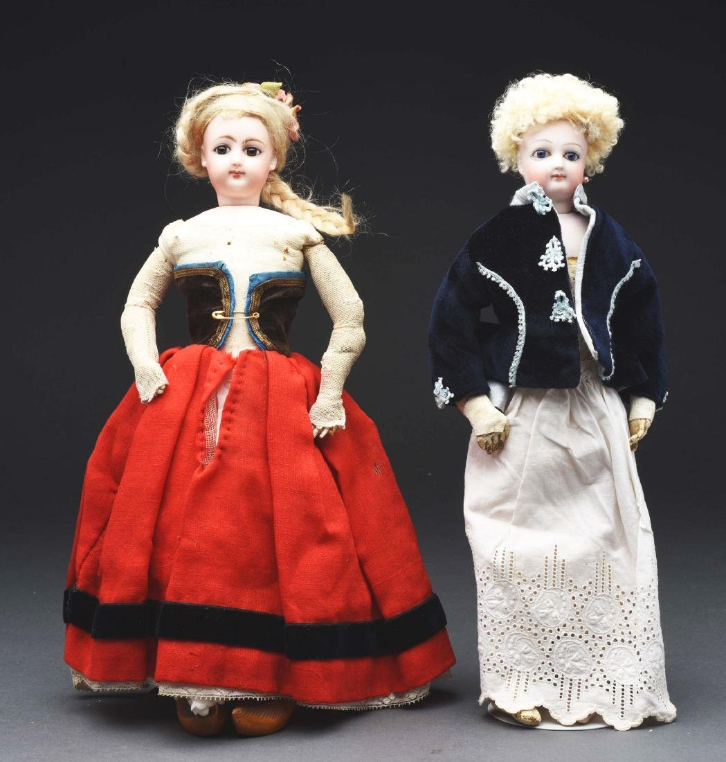 Lot of 2: Small French Fashion Dolls.