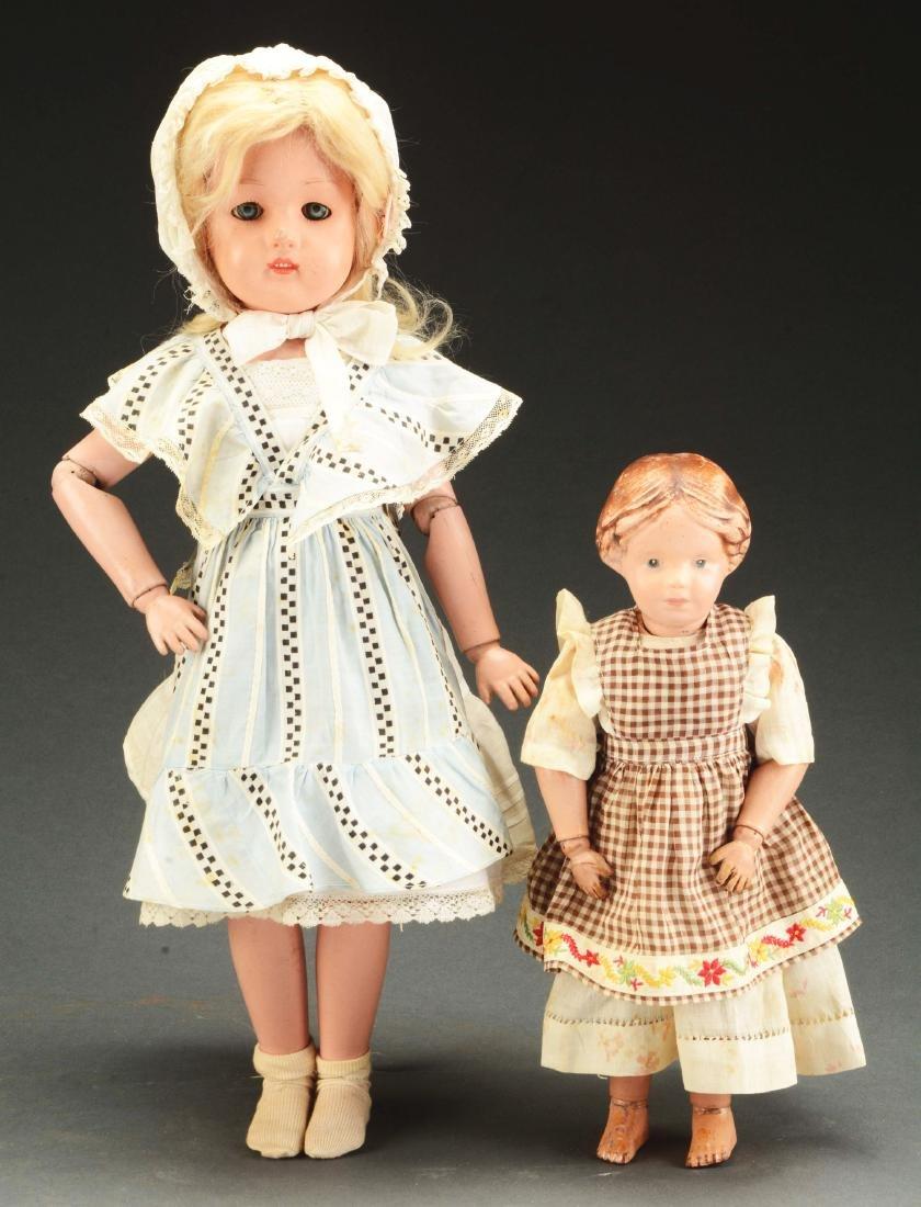 Lot of 2: Wooden Schoenhut Dolls.
