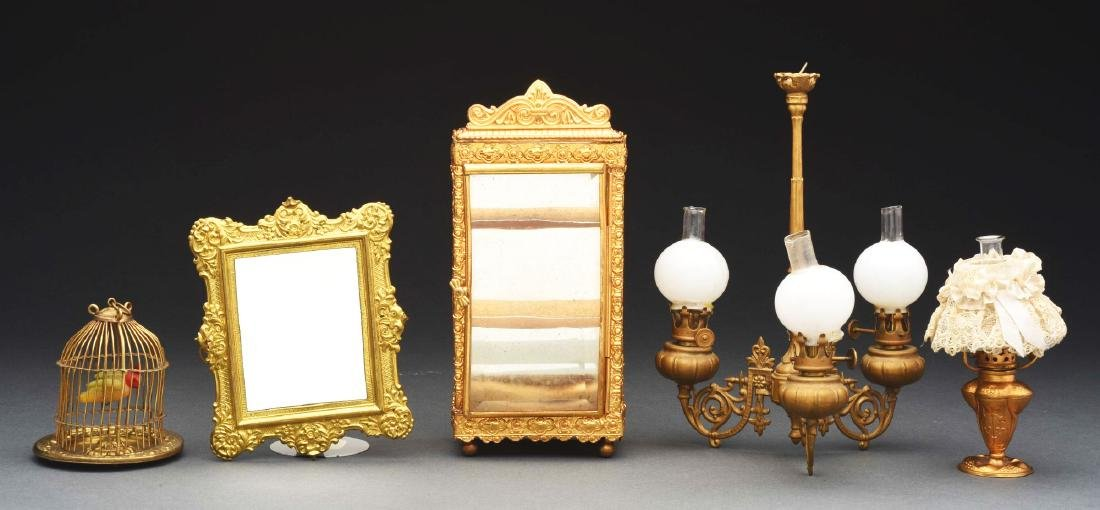 Lot Of 5: Ormolu Display Cabinet & Other Items.