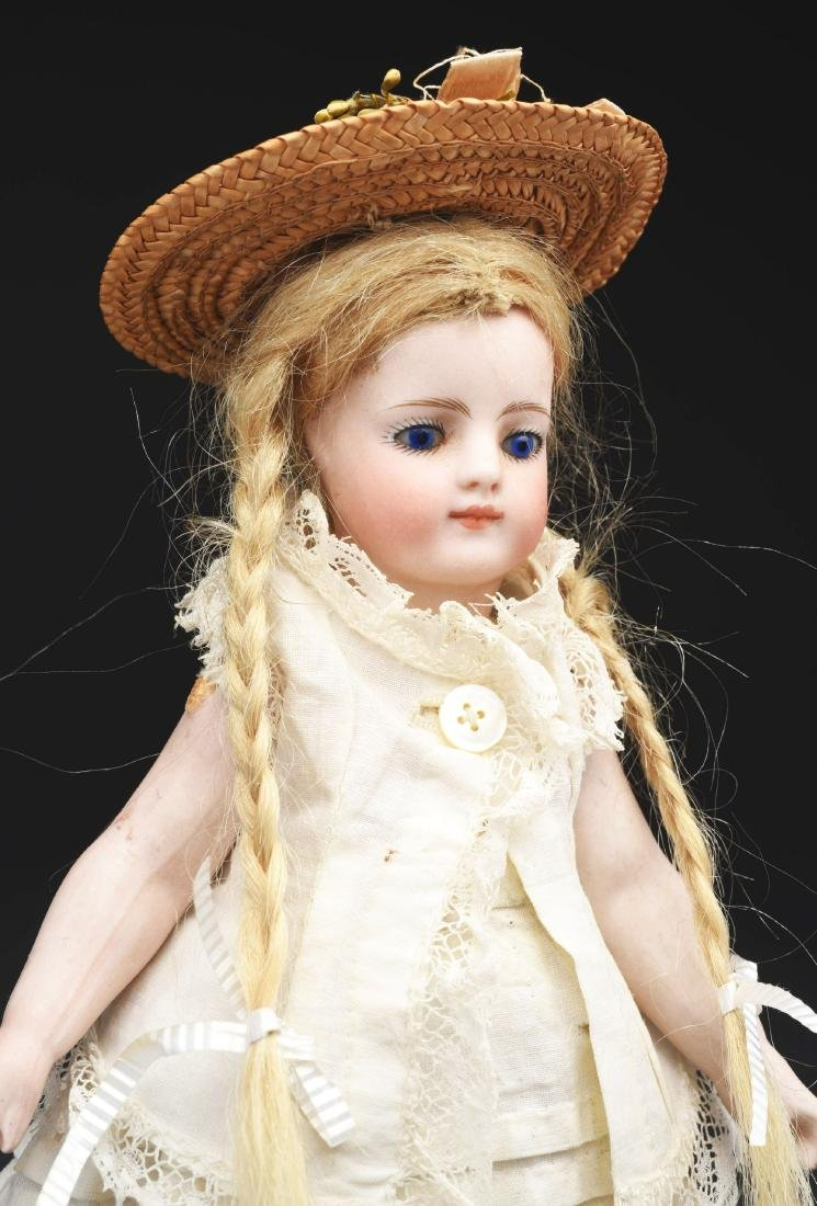 French All Bisque Mignonette Doll with Blue Shoes. - 2