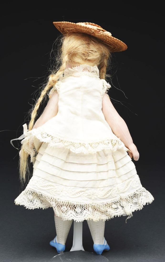 French All Bisque Mignonette Doll with Blue Shoes. - 3