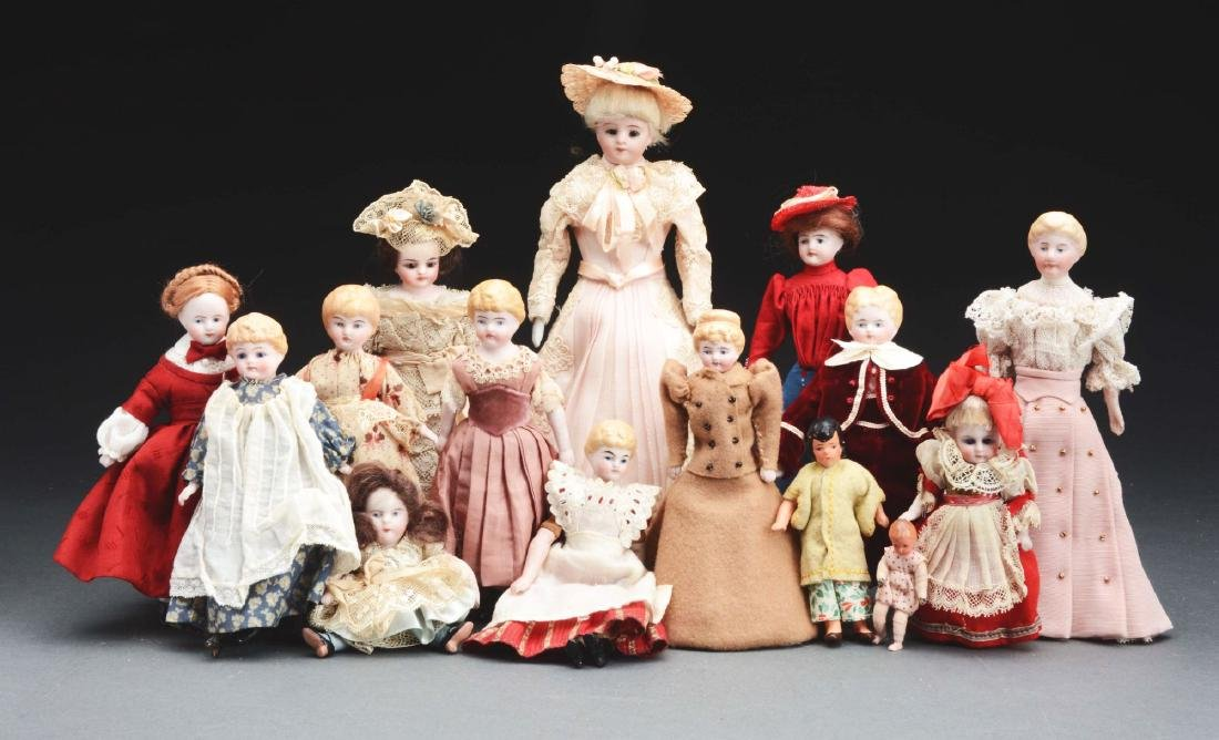 Lot Of 15: Assorted Bisque & Parian Style Dolls.