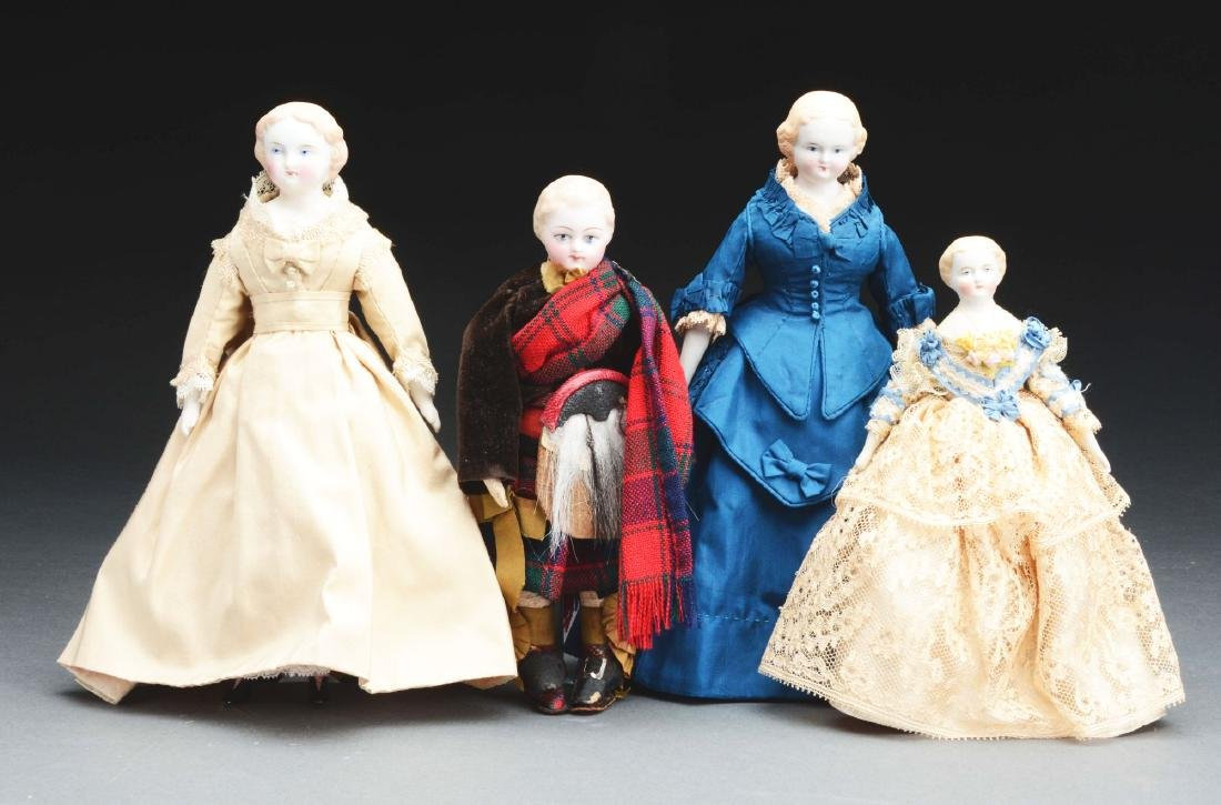 Lot Of 4: Small Parian Dolls.