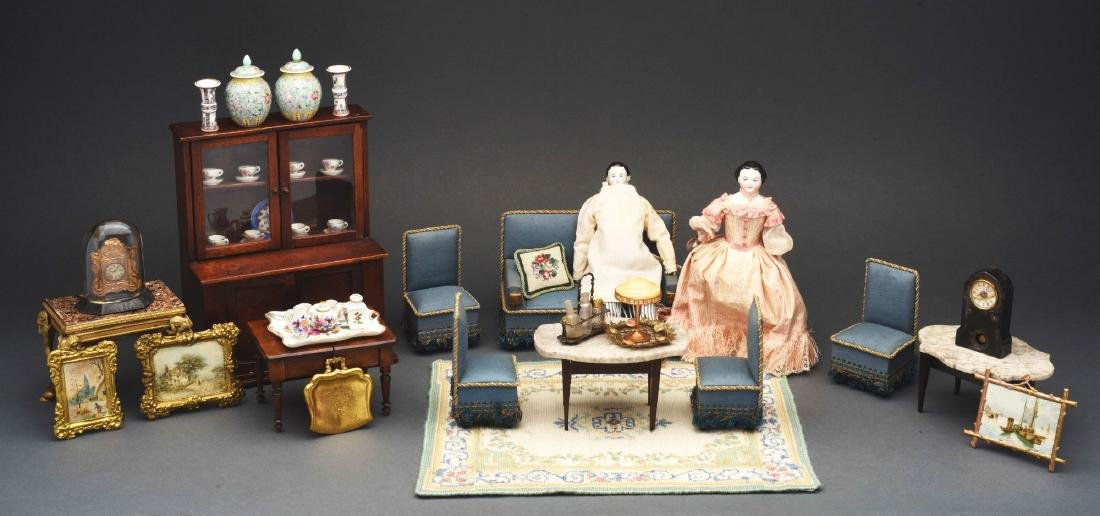 Blue Parlor Set with Dolls.