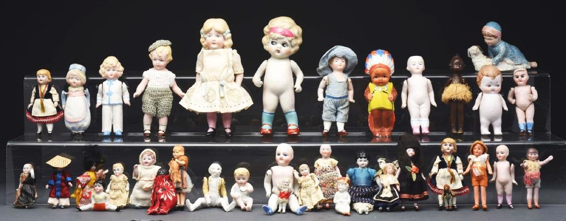 Large Lot of 40+: All Bisque Dolls.
