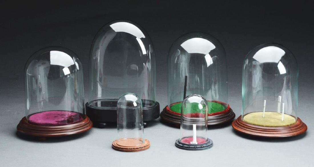Lot of 6: Small Glass Domes.