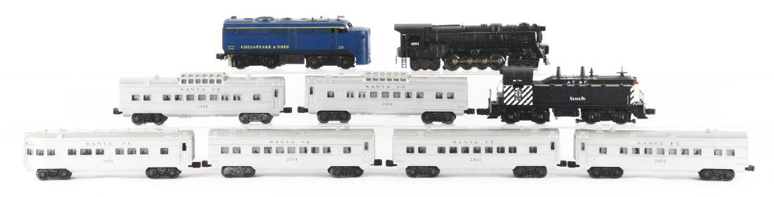Lot of 9: Lionel 616 Santa Fe Engine and Passenger