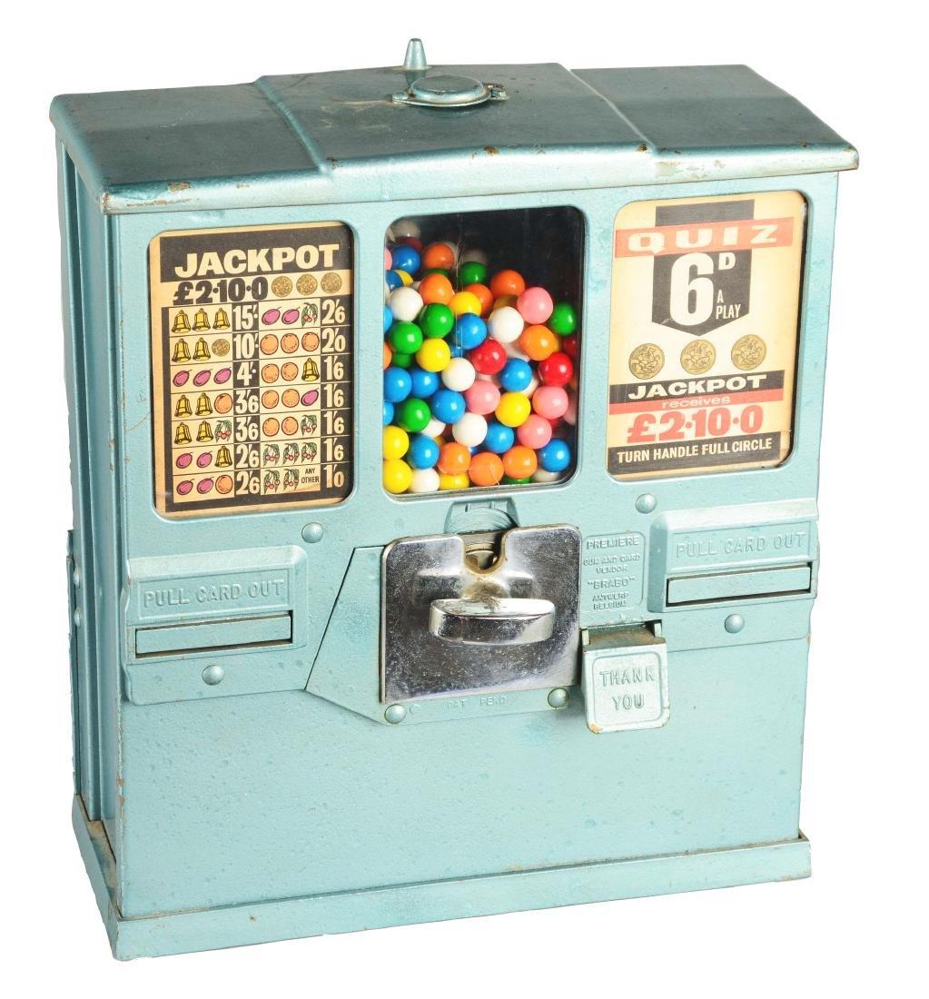 **1¢ Brabo Oak Premiere Gum And Card Vendor.