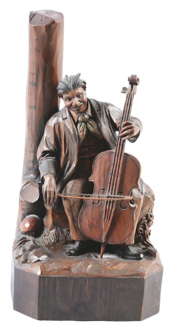 Carved Cellist Automaton Music Box.