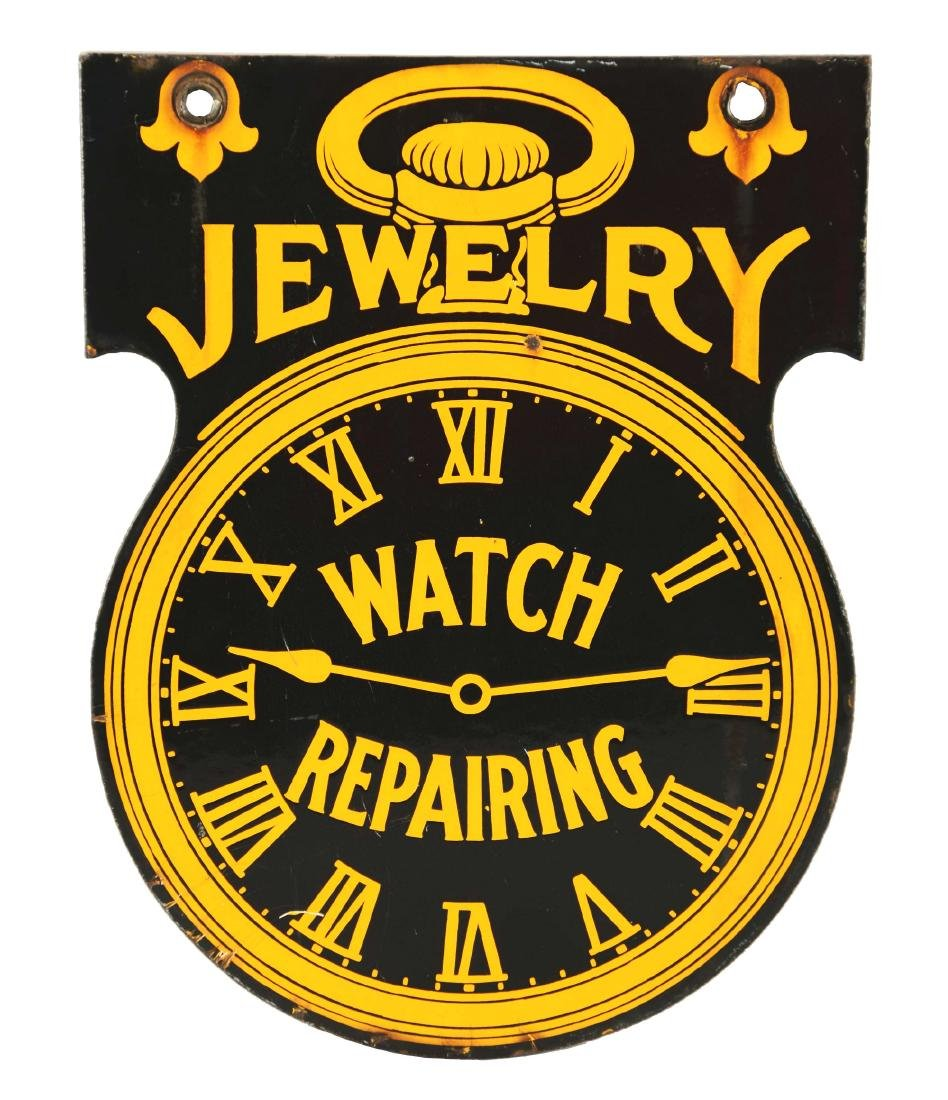 Die-Cut Porcelain Jewelry Watch Repairing Sign.