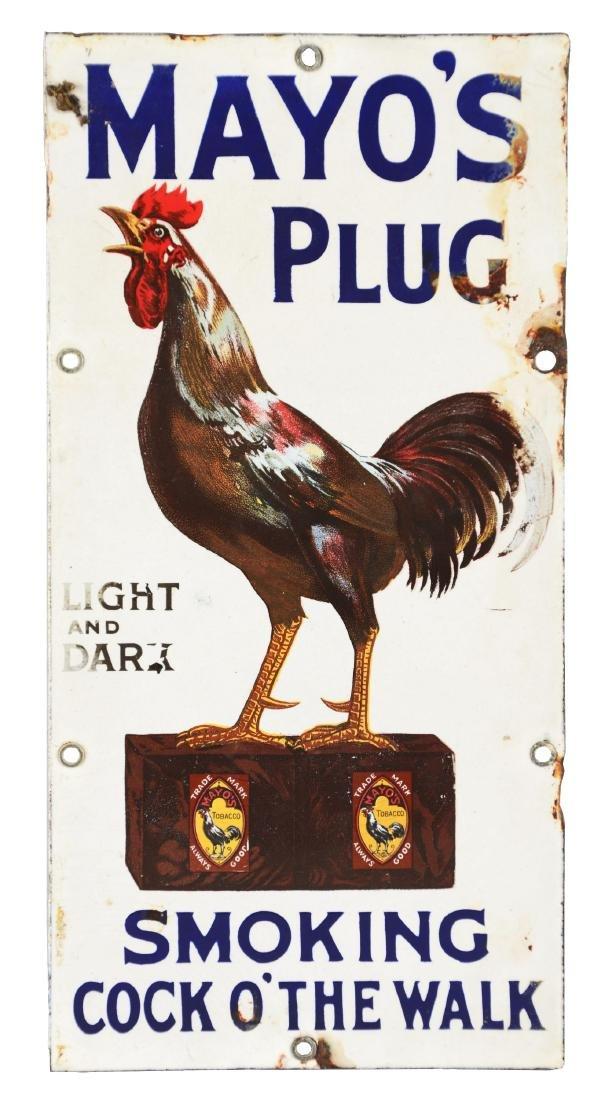 """Porcelain Mayo's Plug """"Smoking Cock O' The Walk"""" Sign."""