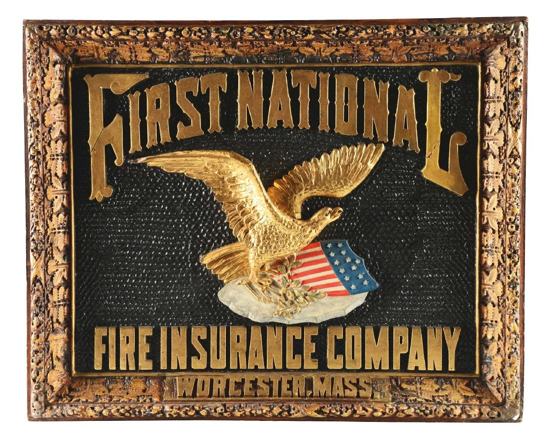 First National Fire Insurance Company Advertising Sign.