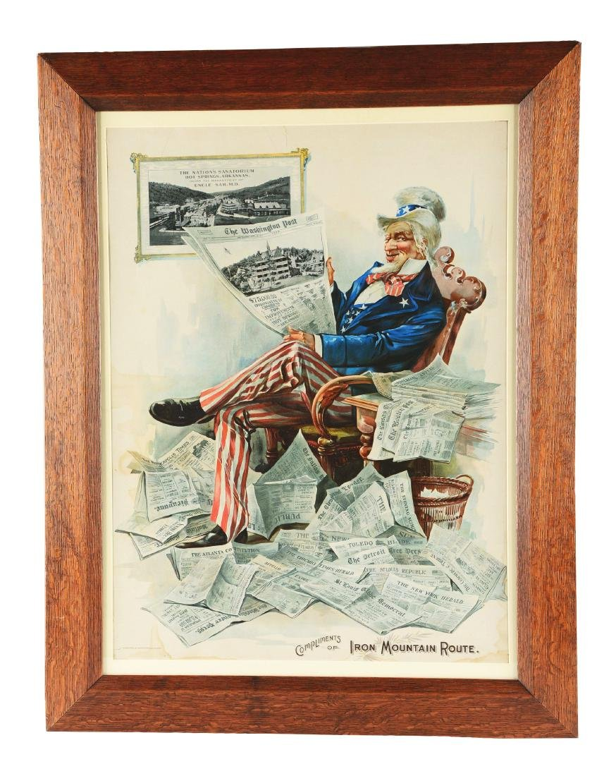 """Framed """"Compliments Of Iron Mountain Route"""" Lithograph."""