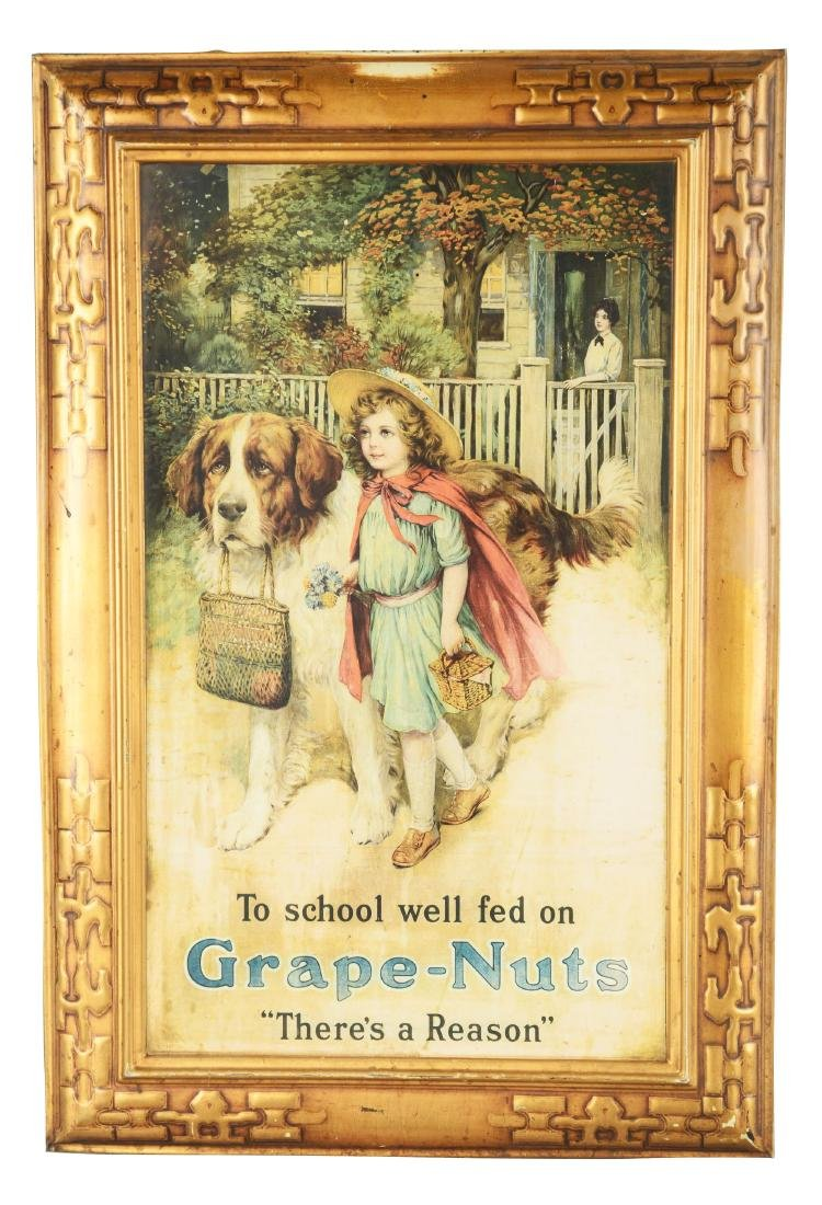 """Self-Framed Tin """"Grape-Nuts"""" Advertising Sign."""