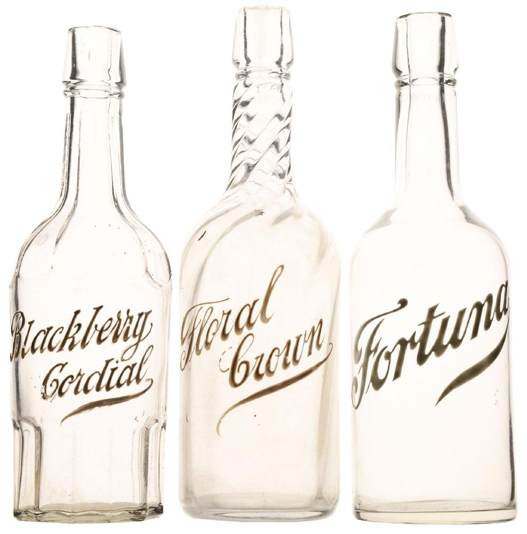 Lot Of 3: Early Glass Whiskey Bottles.