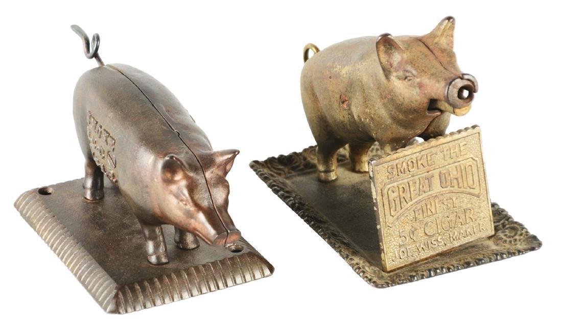 Lot Of 2: Figural Pig Cigar Cutters.