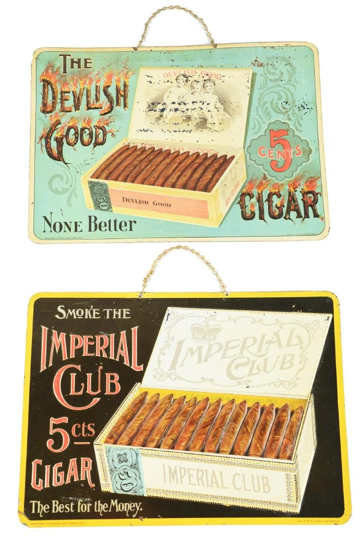 Lot Of 2: Embossed Tin Cigar Advertising Signs.