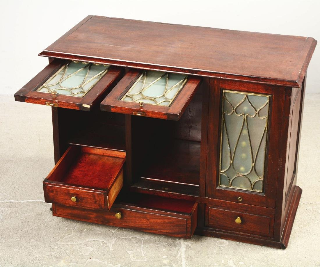 Mahogany Dental Cabinet With Leaded Glass Front Doors. - 3