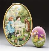 Lot Of 2: Easter Tin & Plaque.