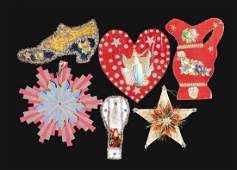 Lot of 6 Paper  Tinsel Christmas Ornaments