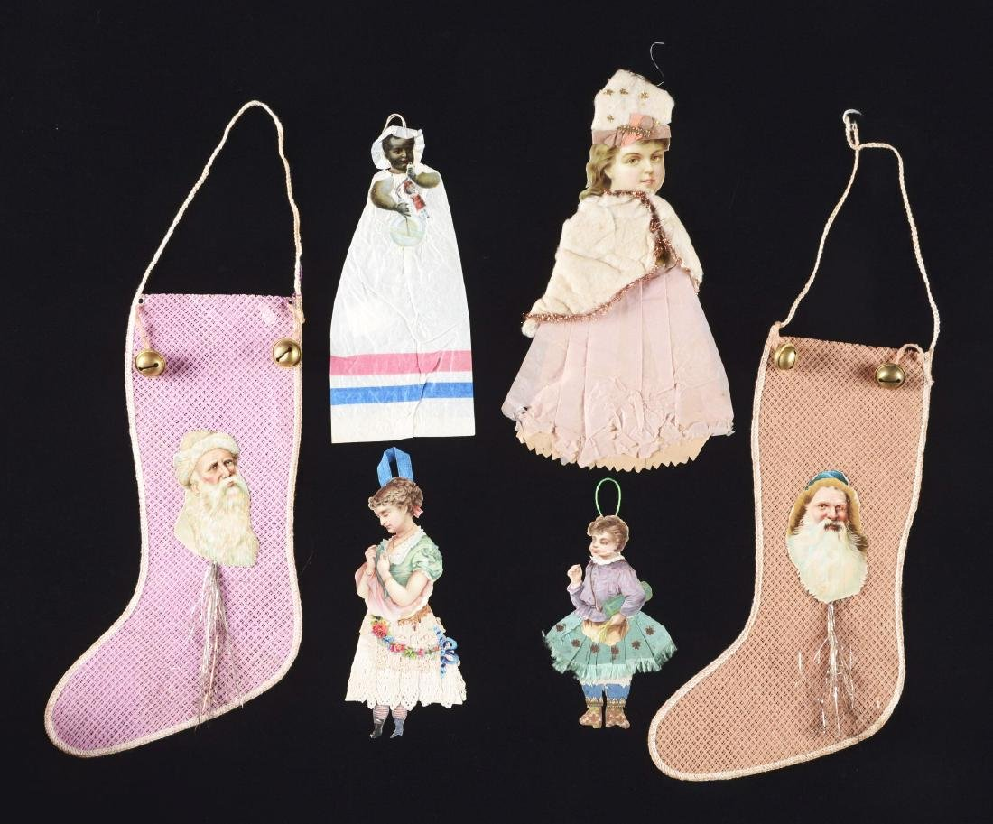 Lot Of 6: Paper Doll Ornaments & Christmas Stockings.