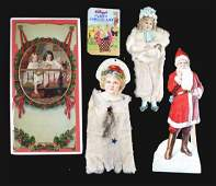 Lot Of 5 Large Christmas Chromolithography Prints