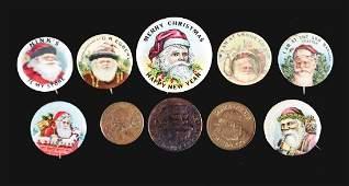 Lot Of 10 3 Santa Tokens  7 Celluloid Santa Button