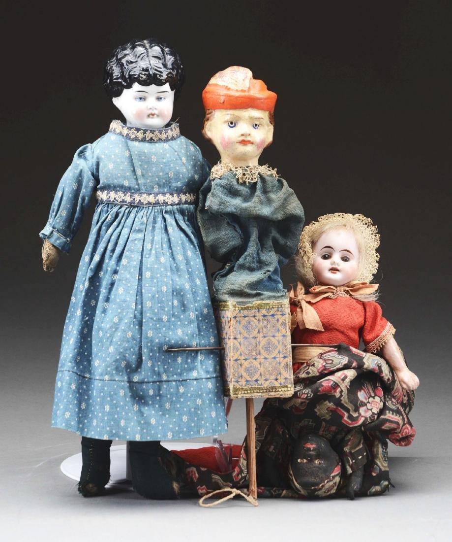 Lot of 3: Victorian Dolls.