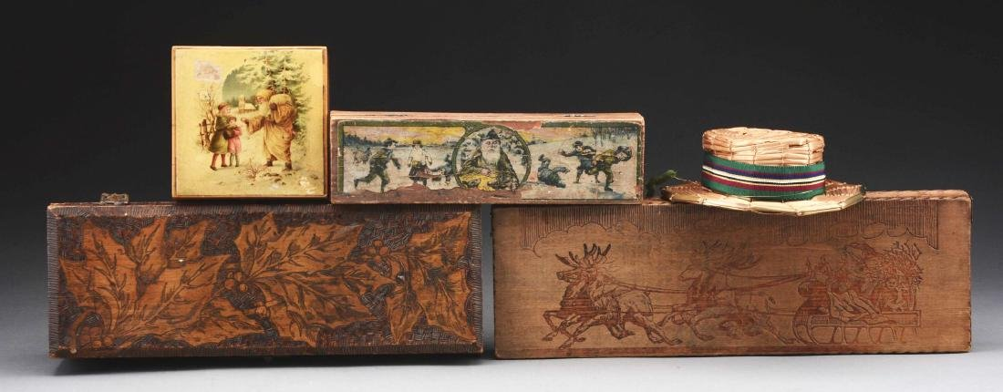 Lot Of 4: Wooden Christmas Boxes.