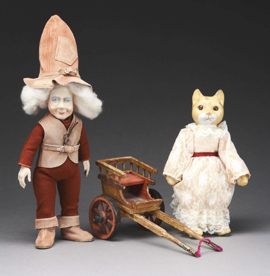 Lot Of 3: Elf & Cat Doll & Vintage Toy Cart.